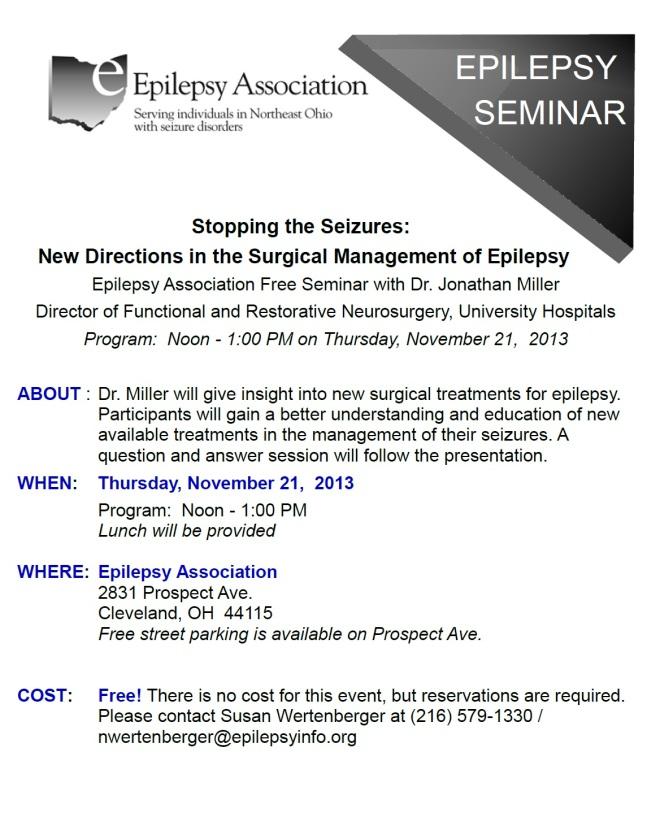 Epilepsy Assocation Free Seminar