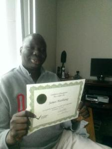 James with his certificate of completion